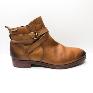 Pikolinos Royal Leather Buckle Strap Ankle Bootie